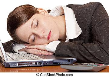 vrouw, slaap, kantoor, moe, draagbare computer, overwerkt,...