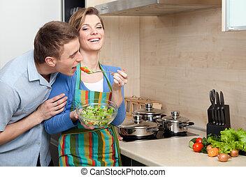 vrouw, slaatje, haar, proeven, aanbiedingen, mooi, echtgenoot
