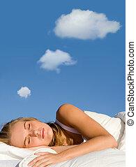 vrouw, slapende, dromen, met, gedachte, bellen