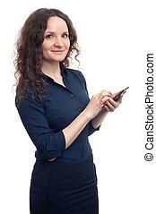 vrouw, smartphone, smileng, zakelijk, vasthouden