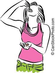 vrouw, snack, eten, illustratie