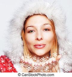vrouw, -, sneeuw, blazen, flakes, kerstmis, vrolijke
