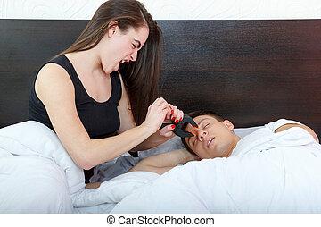 vrouw, snurken, ongelukkig, haar, echtgenoot