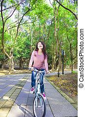 vrouw, spoor, fiets, bos, mooi, paardrijden