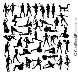 vrouw, sportende, fitness en gym, activiteit, silhouettes