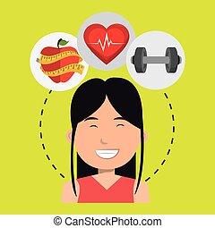 vrouw, sportende, gezondheid, pictogram
