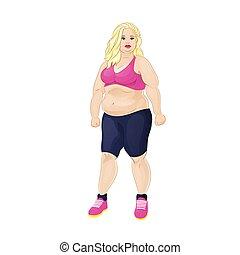 vrouw, sportende, overgewicht, slijtage, dik