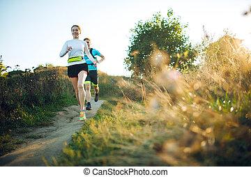 vrouw, sportief, foto, park, rennende , door, voorkant, man