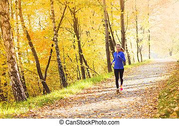 vrouw, sportief, natuur, loper, herfst, actief