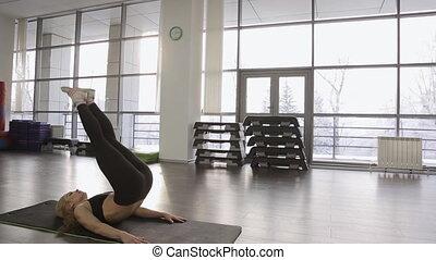 vrouw, sportief, overall., atleet, turnoefening, enkel,...