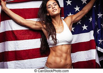 vrouw, sportief, vlag, jonge, amerikaan, vasthouden