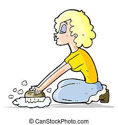 vrouw, spotprent, scrubbing, vloer
