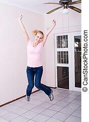 vrouw, springt