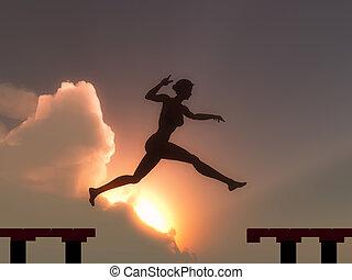 vrouw, sprong, door, de, bres