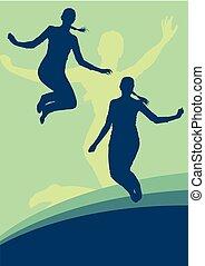 vrouw, sprong, vector, achtergrond, actief, uitdrukking, geluk