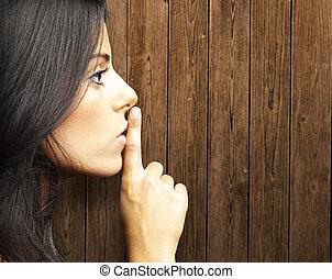 vrouw, stilte, gebaar