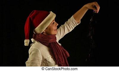 vrouw, stort, jonge, kerstman, confetti, kerstmis, rood