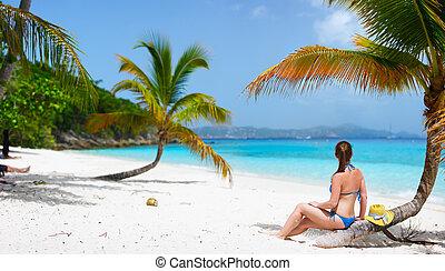 vrouw, strand, jonge, relaxen