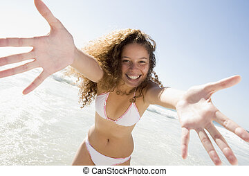 vrouw, strand, relaxen