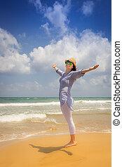 vrouw, strand, vrolijke