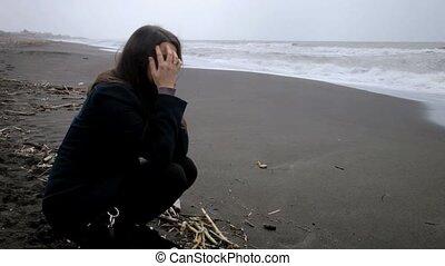 vrouw, strand, wanhopig, verdrietige