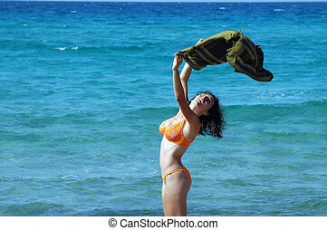 vrouw, strand, weefsel