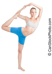 vrouw stretching, doen, yoga