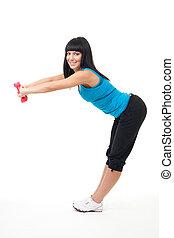 vrouw stretching, met, dumbbells