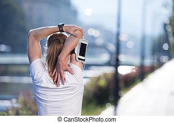 vrouw stretching, morgen, jogging, blonde, voor