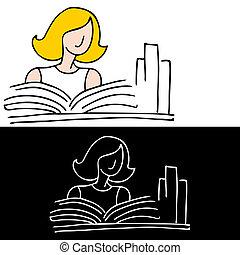 vrouw, studerend