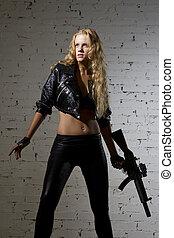 vrouw, studio, geweer, machien