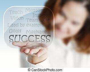 vrouw, succes, informatiestroomschema, hand, glas, bellen, ...