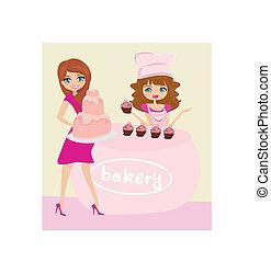 vrouw, taart, aankoop, illustratie, winkel, bakkerij