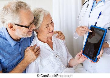 vrouw, tablet, arts, ziekenhuis, pc, senior