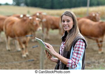 vrouw, tablet, farmer, vee, voorkant, gebruik