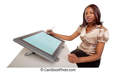 vrouw, tablet, werkende , digitale , amerikaan, afrikaan