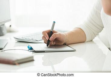 vrouw, tablet, werkende , jonge, grafisch, digitale