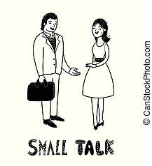 vrouw, talk., kletsende, mensen., conversation., kleine, hebben, man