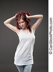 vrouw, tank top, het poseren, aantrekkelijk, verticaal