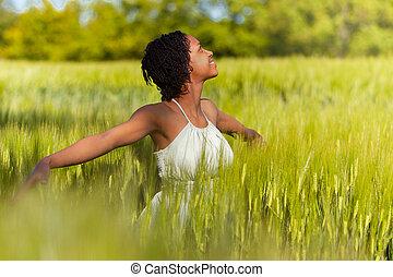 vrouw, tarwe, mensen, -, akker, amerikaan, afrikaan