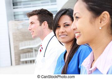 vrouw, team, man, medisch