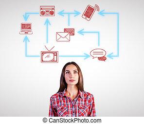 vrouw, technologie, netwerk, mooi