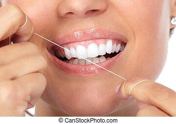 vrouw, teeth, met, dentaal, floss.
