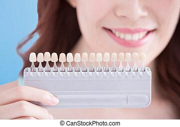 vrouw, teeth, whitening, concept