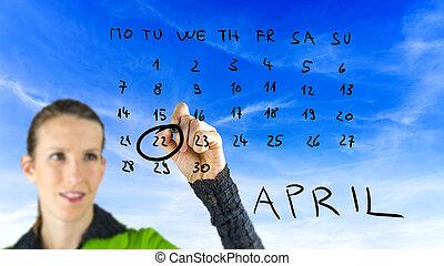 vrouw, tekening, aarden dag aan, op, een, kalender