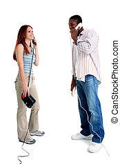 vrouw, telefoon, man