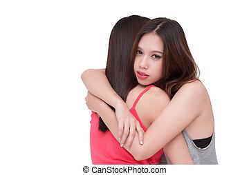 vrouw, terneergeslagen, haar, friend., omhelzen