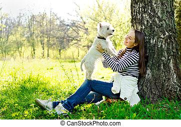 vrouw, terrier