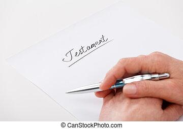 vrouw, testament, bejaarden, schrijvende