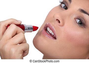 vrouw, toepassende lipstick